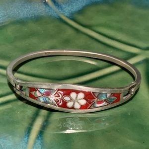 925 Sterling Silver Mosaic Bangle Bracelet